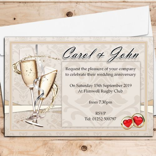 10 Personalised Wedding Anniversary Invitations N15
